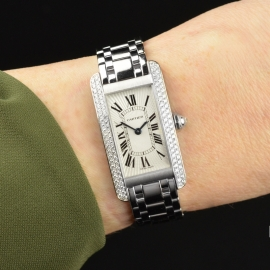 CA20269S Cartier Ladies Tank Americaine 18ct Wrist 1