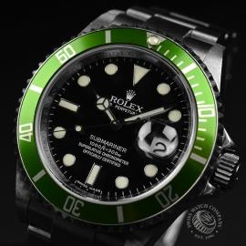 RO20926S Rolex Submariner Date Green Bezel Anniversary Close2