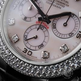 RO20942S Rolex Daytona 18ct White Gold Black Strap Close6 2