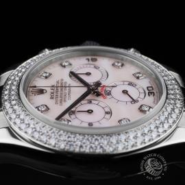 RO20942S Rolex Daytona 18ct White Gold Black Strap Close8 1