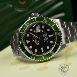 RO20926S Rolex Submariner Date Green Bezel Anniversary Close10