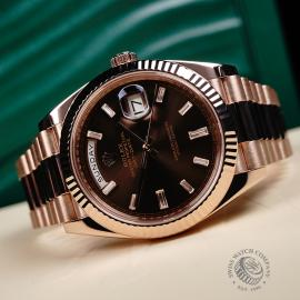 RO221147S Rolex Day-Date 40 Everose Diamond Close10