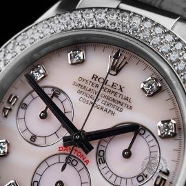 RO20942S Rolex Daytona 18ct White Gold Black Strap Close5 3