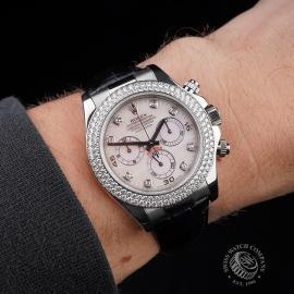 RO20942S Rolex Daytona 18ct White Gold Black Strap Wrist