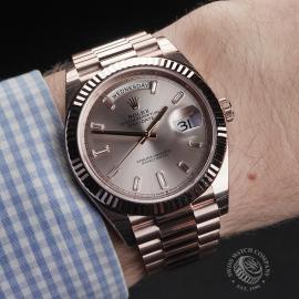 RO22329S Rolex Day-Date 40 Everose Diamond Unworn Wrist