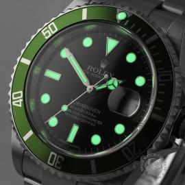 RO21193S Rolex Submariner Date Green Bezel Anniversary Close1