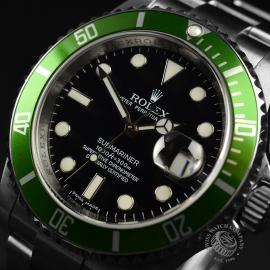 RO21193S Rolex Submariner Date Green Bezel Anniversary Close2